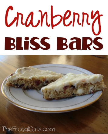Cranberry Bliss Bars Recipe at TheFrugalGirls.com