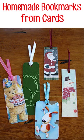 How to make Homemade Bookmarks from Cards from TheFrugalGirls.com