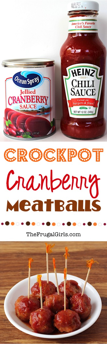 Cranberry Meatballs in the Crockpot Recipe at TheFrugalGirls.com