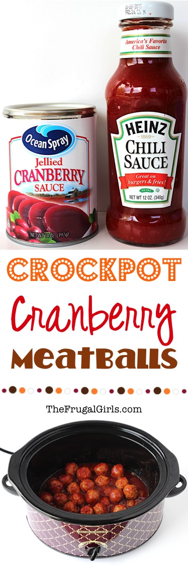 Crockpot Cranberry Meatballs Recipe from TheFrugalGirls.com