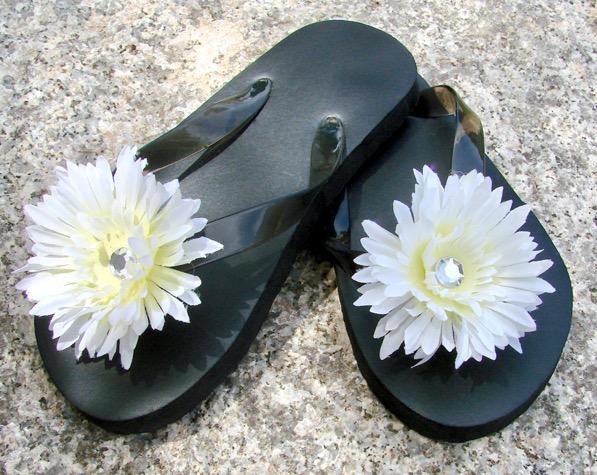Embellished Flower Flip Flops