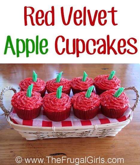 Red Velvet Apple Frosted Cupcakes Recipe from TheFrugalGirls.com