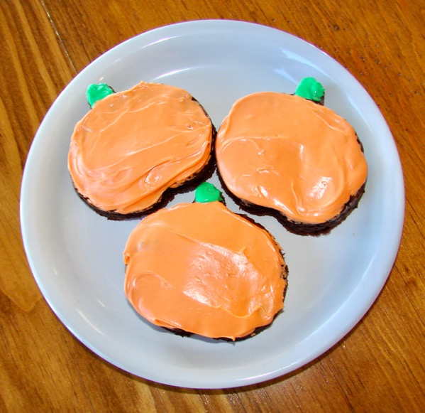 Brownies Decorated as Pumpkins
