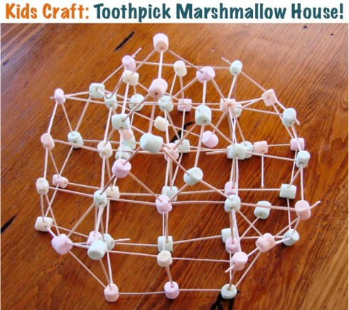 Toothpick Marshmallow House Craft from TheFrugalGirls.com