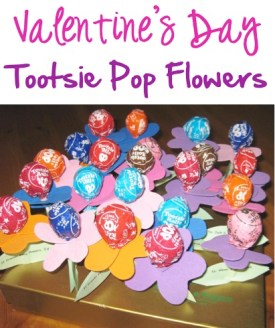 Valentine's Day Tootsie Pop Flowers at TheFrugalGirls.com