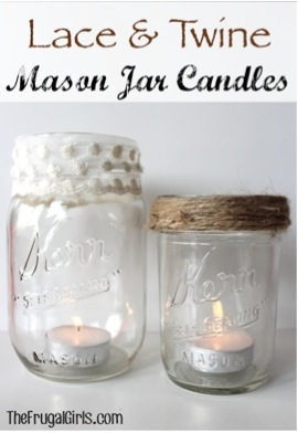 Lace and Twine Mason Jar Candles