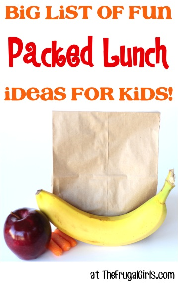 BIG List of Fun Packed Lunch Ideas for Kids from TheFrugalGirls.com