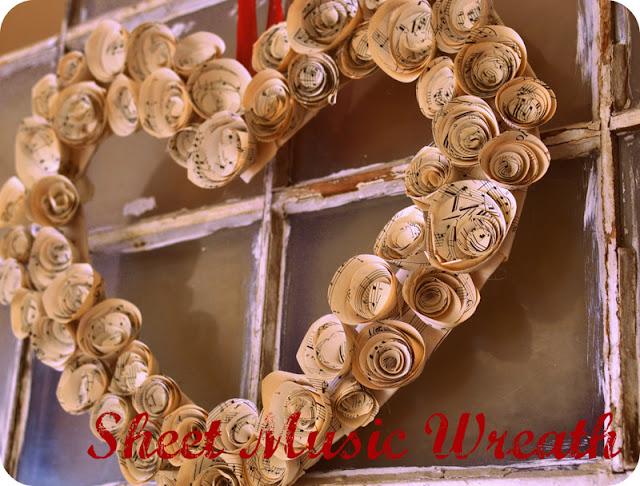 DIY Sheet Music Rosette Wreath at TheFrugalGirls.com