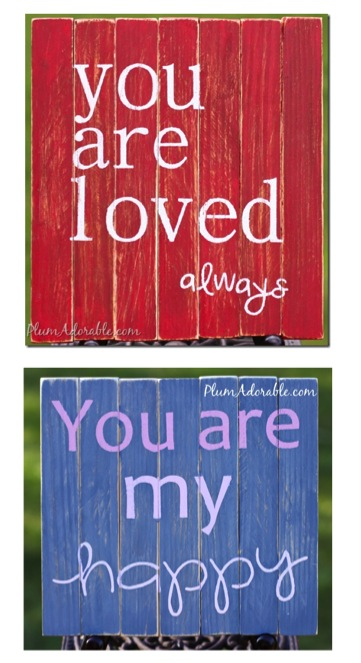 Mini DIY Pallet Board Sign Tutorial at TheFrugalGirls.com