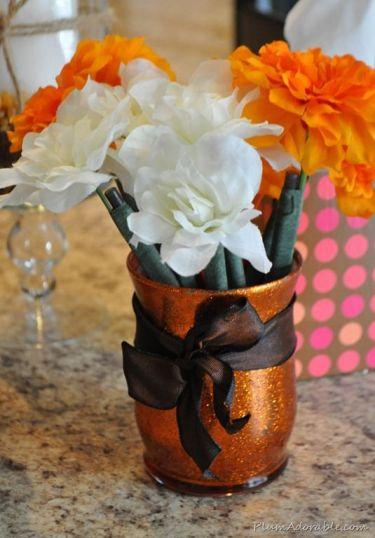 DIY Fall Glitter Vase Tutorial