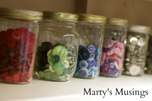 Mason Jar Button Storage Idea