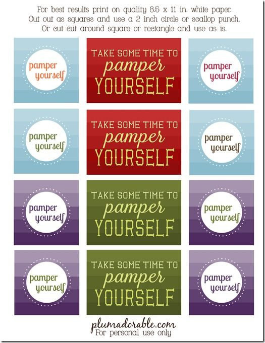 Pamper Yourself Printable Tags