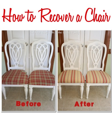 How to Recover a Chair without Sewing | Instructions at TheFrugalGirls.com