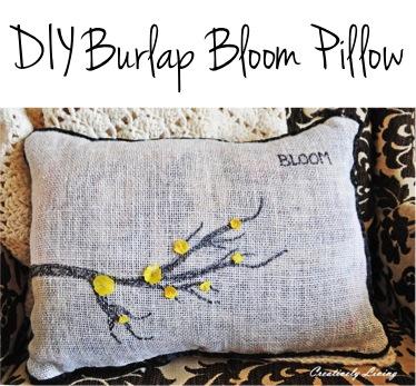 DIY Burlap Spring Bloom Pillow at TheFrugalGirls.com