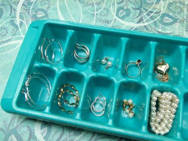 Jewelry Organization in an Ice Cube Tray
