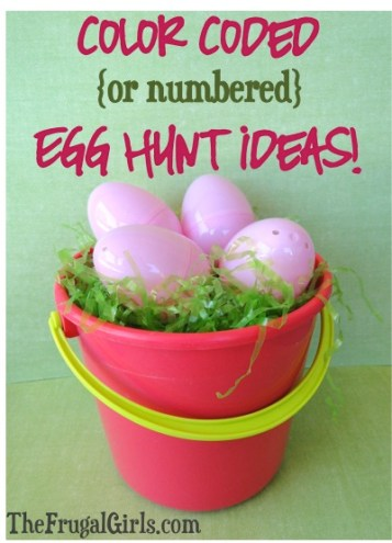 Easter Egg Hunt Ideas: Color Coded or Numbered Eggs! from TheFrugalGirls.com