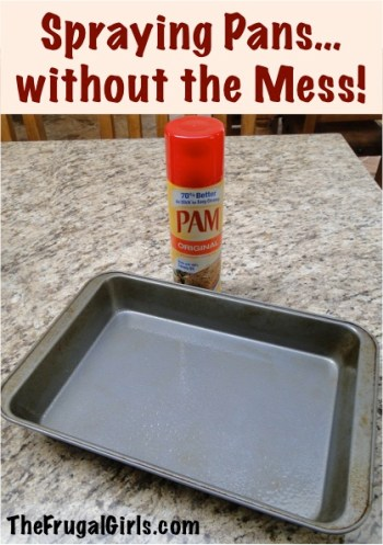 Spraying Pans without the Mess Kitchen Tip