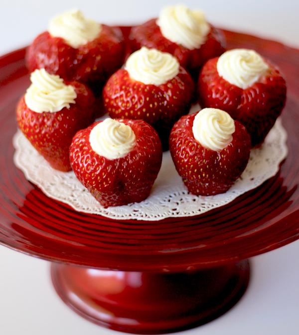 Cream Cheese Filled Strawberries Recipe | TheFrugalGirls.com
