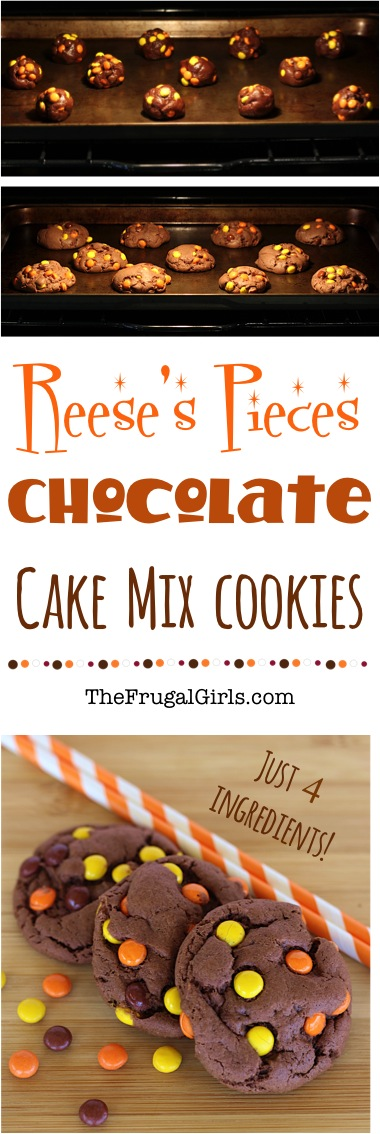 Reeses Pieces Chocolate Cake Mix Cookie Recipe from TheFrugalGirls.com