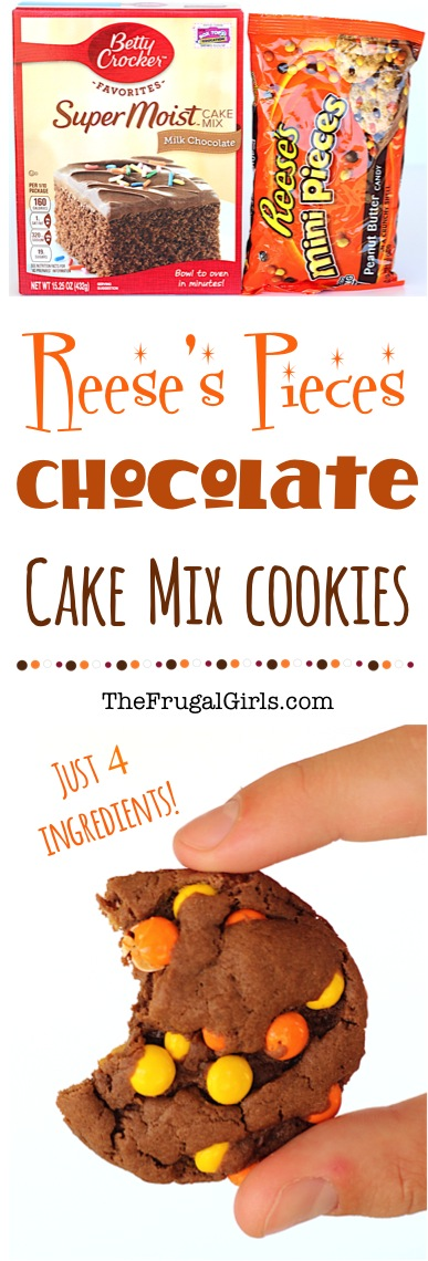 Reese's Pieces Chocolate Cookies Recipe made with Cake Mix from TheFrugalGirls.com