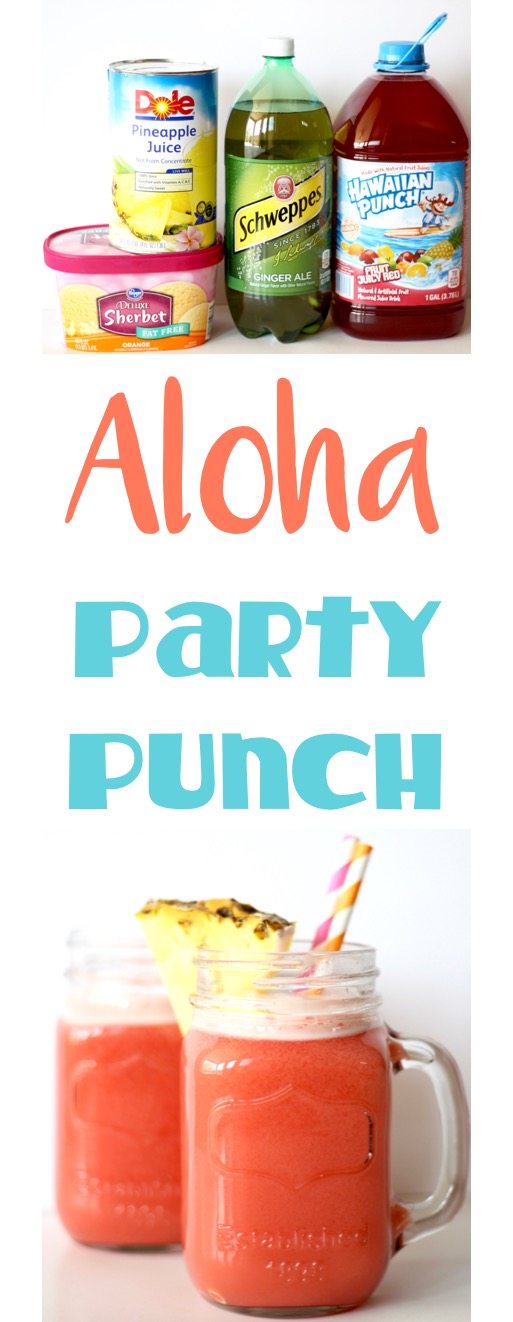 Aloha Party Punch Recipe 4 Ingredients from TheFrugalGirls.com