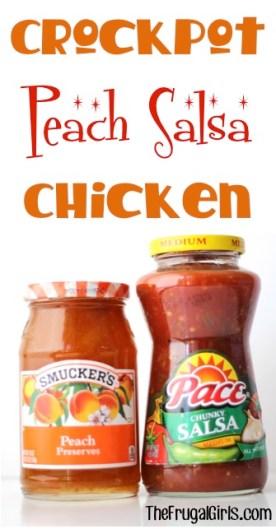 Crockpot Peach Salsa Chicken Recipe at TheFrugalGirls.com