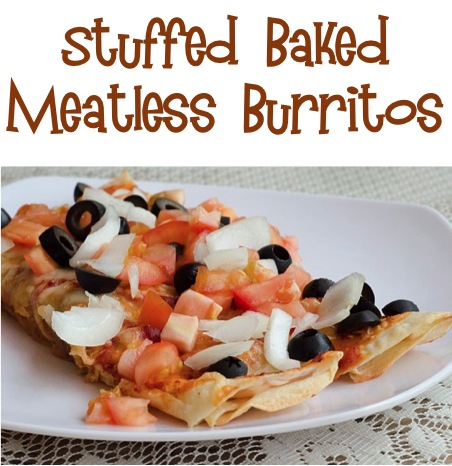 Stuffed Baked Meatless Burritos Recipe