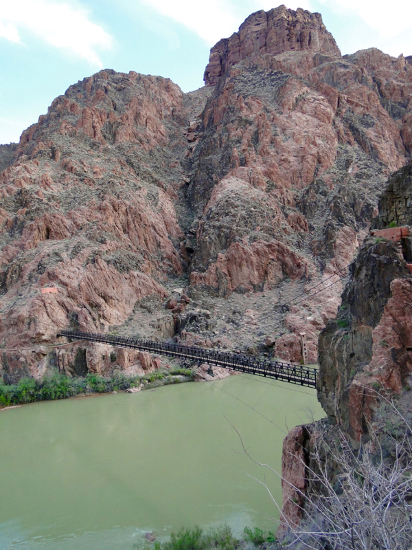 Colorado River suspension bridge at the end of the South Kaibab Trail, bottom of Grand Canyon from TheFrugalGirls.com