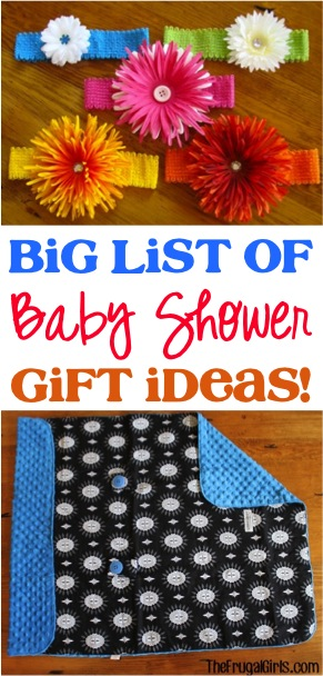 BIG List of Fun Baby Shower Gift Ideas at TheFrugalGirls.com