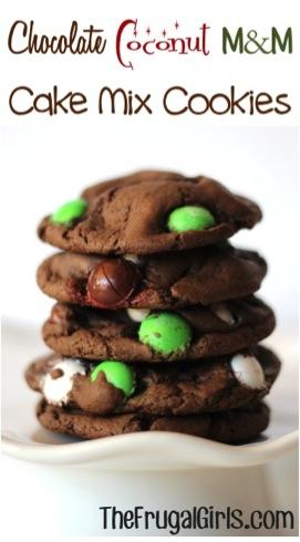 Chocolate Coconut M&M Cake Mix Cookies Recipe