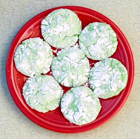 Green Crinkle Cookie Recipe at TheFrugalGirls.com