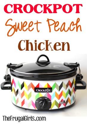 Crockpot Sweet Peach Chicken Recipe from TheFrugalGirls.com