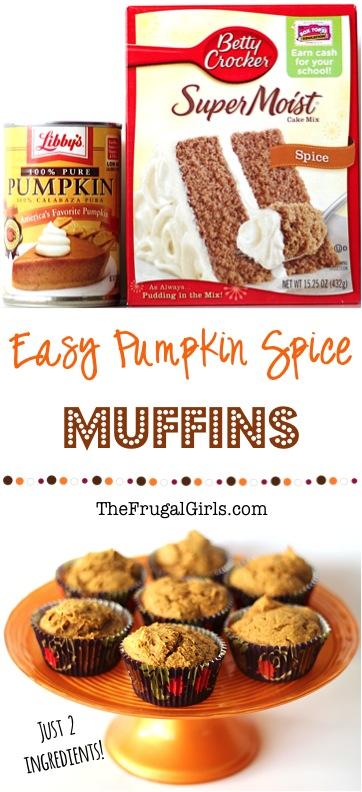 2-Ingredient Pumpkin Spice Cake Mix Muffins from TheFrugalGirls.com