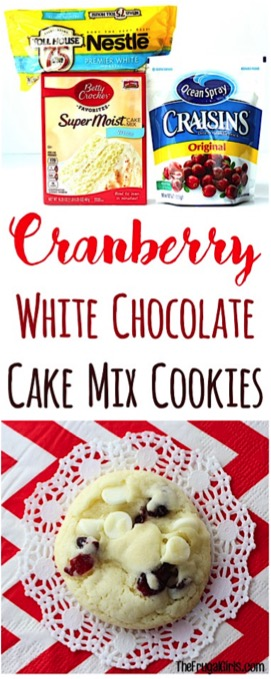 Cranberry White Chocolate Cake Mix Cookies