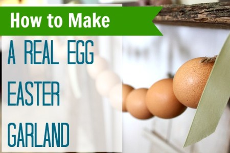 How to Make an Easter Egg Garland with REAL eggs at TheFrugalGirls.com