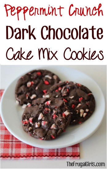 Peppermint Crunch Dark Chocolate Cake Mix Cookies Recipe - at TheFrugalGirls.com