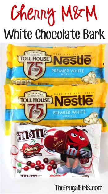 Cherry M&M White Chocolate Bark Recipe - from TheFrugalGirls.com