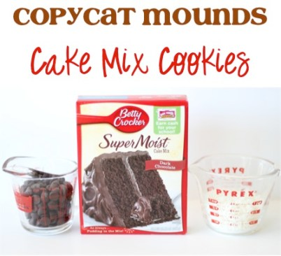 Copycat Mounds Cake Mix Cookies Recipe from TheFrugalGirls.com