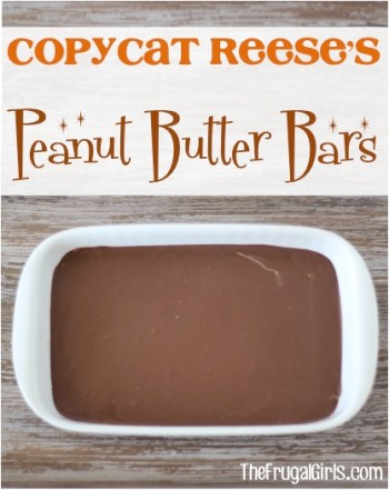 Copycat Reese's Peanut Butter Bars Recipe - from TheFrugalGirls.com