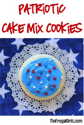 Patriotic Cake Mix Cookies Recipe! {Easy Red, White and Blue Cookie} from TheFrugalGirls.com
