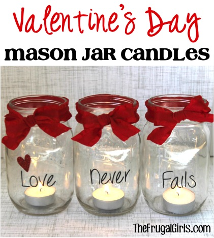 Valentine's Day Mason Jar Candles - from TheFrugalGirls.com