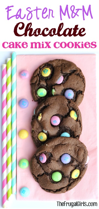 Easter M&M Chocolate Cake Mix Cookie Recipe - from TheFrugalGirls.com