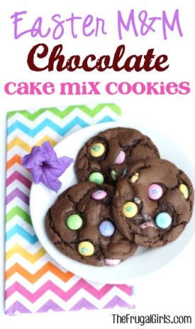 Easter M&M Chocolate Cake Mix Cookies Recipe from TheFrugalGirls.com