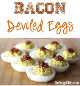 Easy Bacon Deviled Eggs from TheFrugalGirls.com