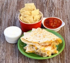 Easy Chicken Quesadilla Recipe at TheFrugalGirls.com