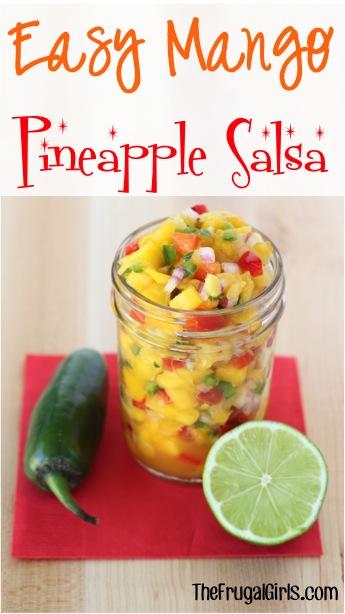 Easy Mango Pineapple Salsa Recipe at TheFrugalGirls.com