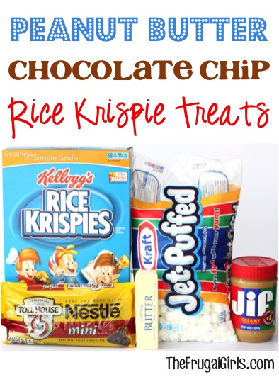 Peanut Butter Chocolate Chip Rice Krispies Treat Recipe at TheFrugalGirls.com