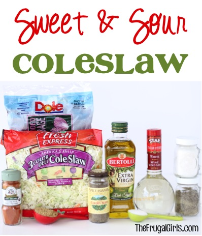 Sweet and Sour Coleslaw Recipe at TheFrugalGirls.com