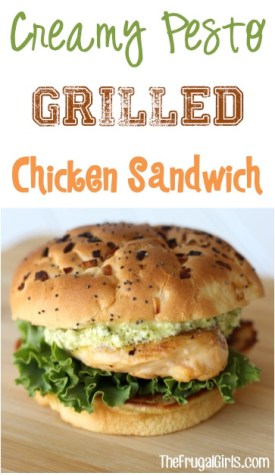 Creamy Pesto Grilled Chicken Sandwich Recipe from TheFrugalGirls.com