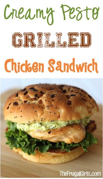 Creamy Pesto Grilled Chicken Sandwich Recipe from TheFrugalGirls.com